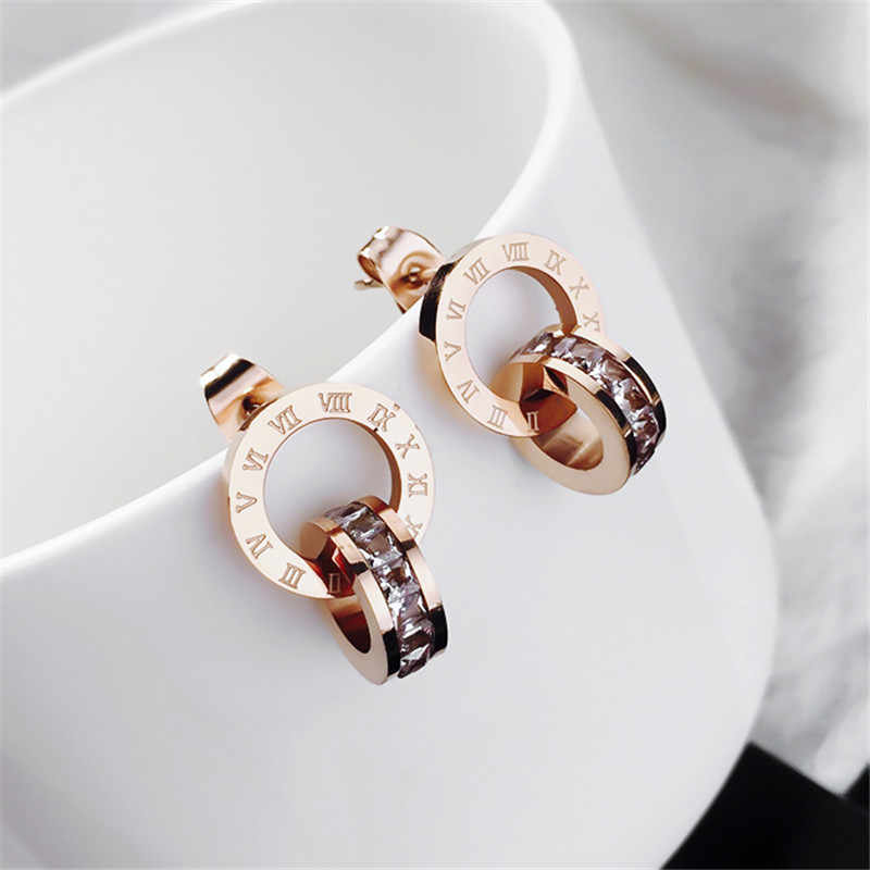 YUN RUO 2018 Fashion Zircoina Inlay Roman Stud Earring Woman Rose Gold Color Titanium Steel Jewelry Girl Gift Party Never Fade