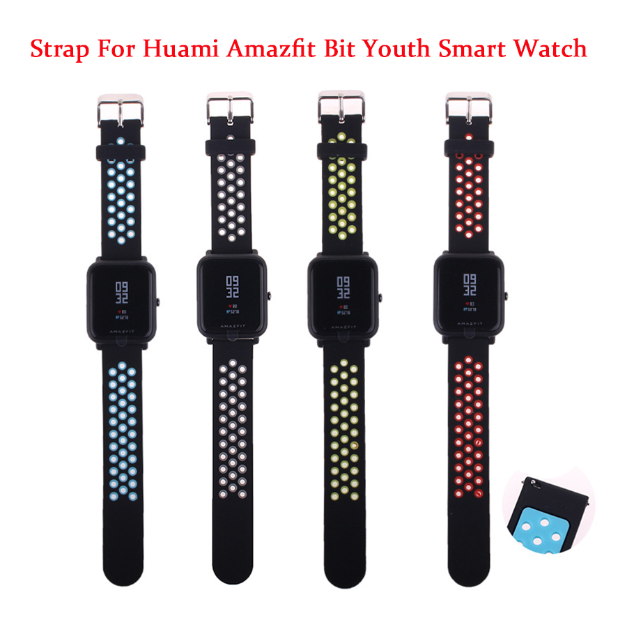 все цены на Replace Watch Straps for Original Xiaomi Huami Bip BIT PACE Lite Youth Smart Watch Double Color Silicone Band for Amazfit Youth онлайн