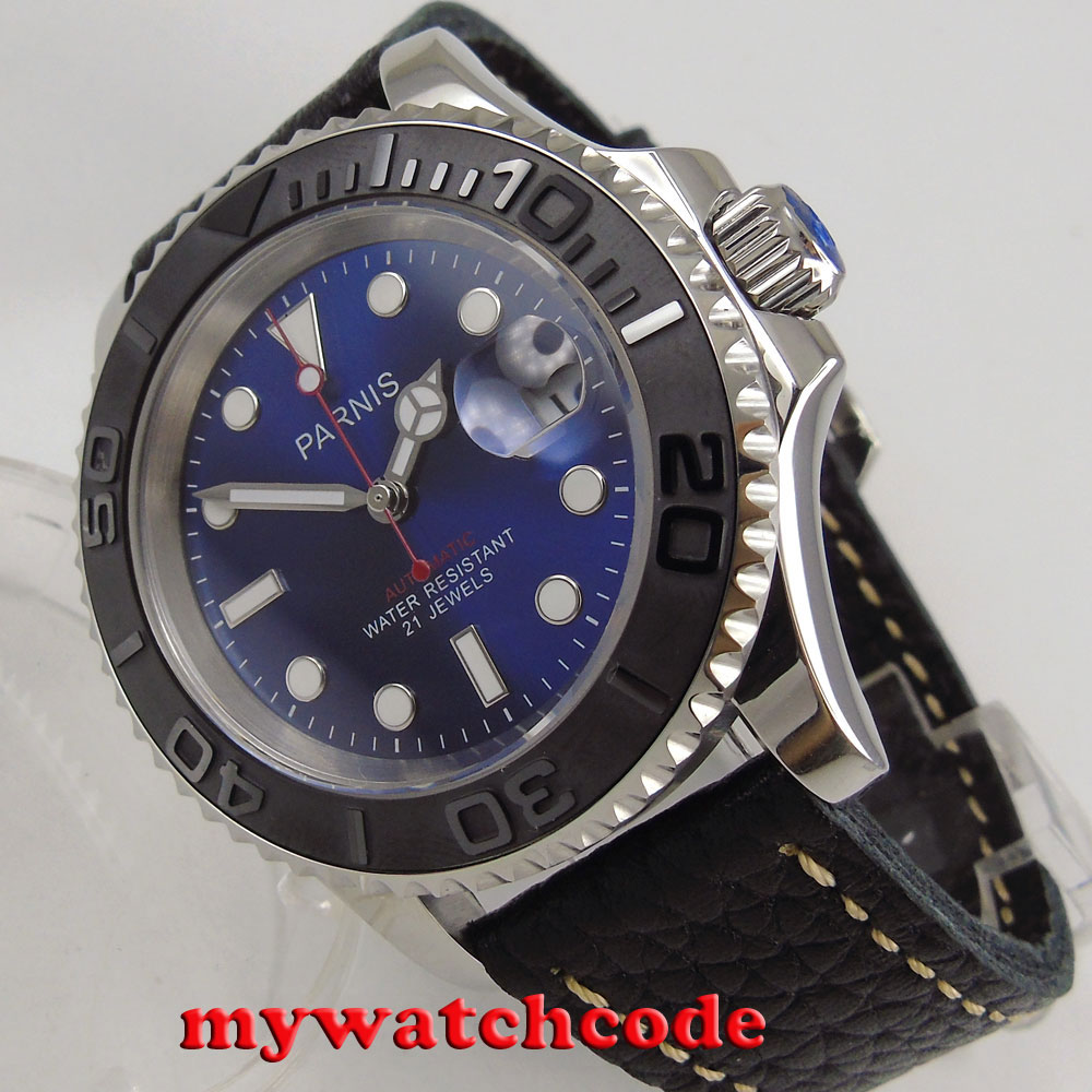 41mm Parnis blue dial Sapphire glass Ceramic bezel miyota automatic mens watch цена 2017