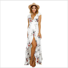 Фотография 2017 maxi dress party dresses autumn summer women cheap clothes china sexy vestidos vestido longo v-neck long robe print beach