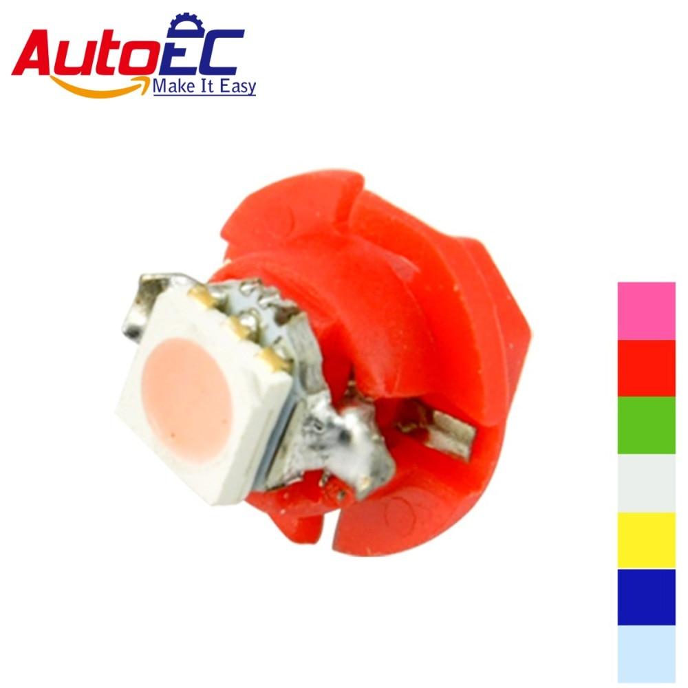AutoEC 1000X T5 B8.4d b8.4 8.4d 5050 Led 1 SMD Lamp Car Gauge Speedo Dash Bulb Dashboard Instrument Lights DC12v 7 color #LH03