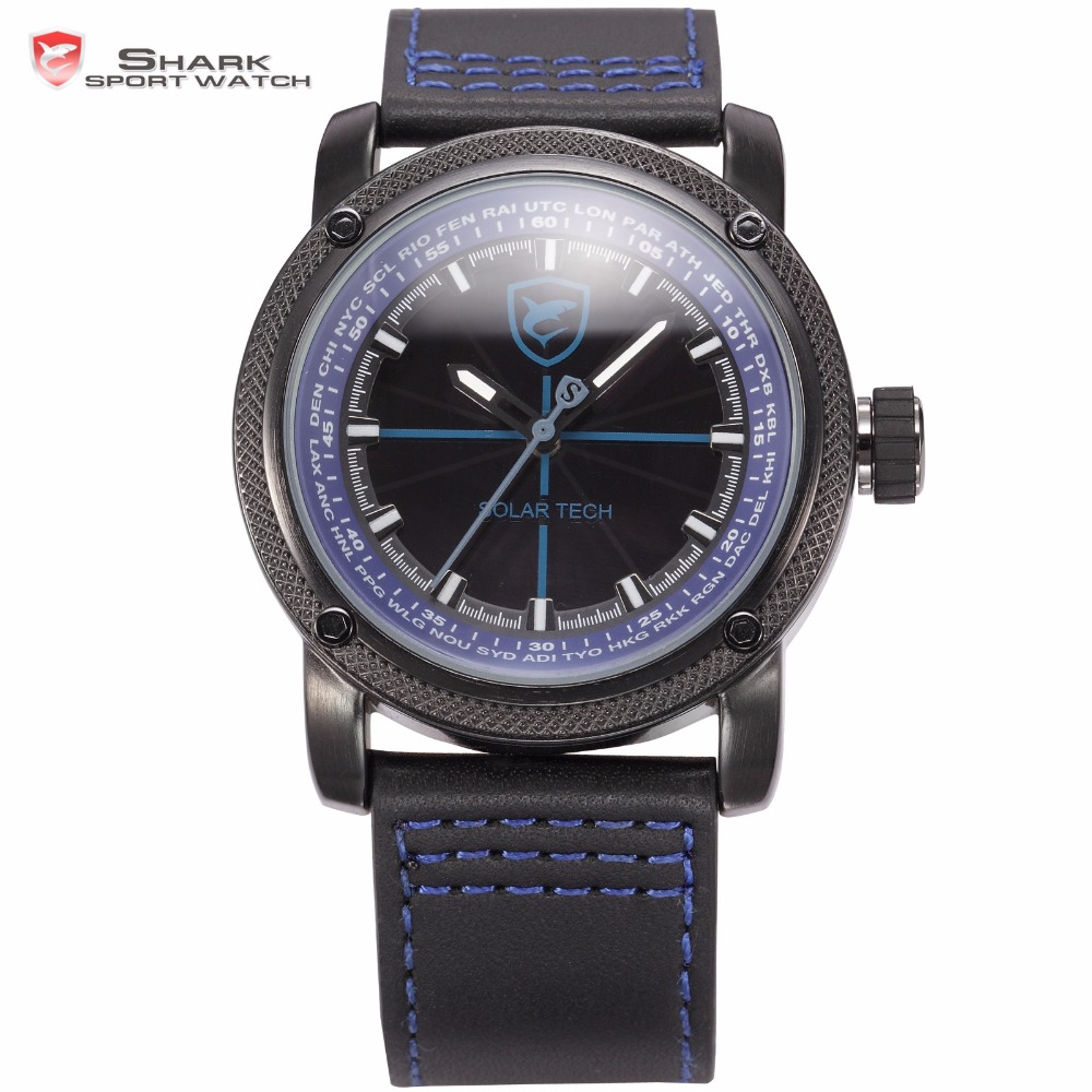 Solar Shark Sport Watch Sun Panel Stainless Steel 3ATM Waterproof Blue Luminescent Hands Leather Strap Quartz Men Watches /SH139