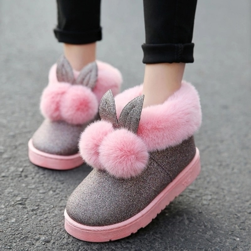 2019 New Style 2018 Winter New Women Boots Rabbit Ears Cute Boots Waterproof And Velvet Thick Warm Cotton Shoes.