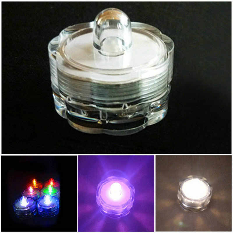12X Colorful Waterproof LED Tea Lights Flameless Candles Wedding Party Decor Flashing Light Cafe Bar Decoration Supplies