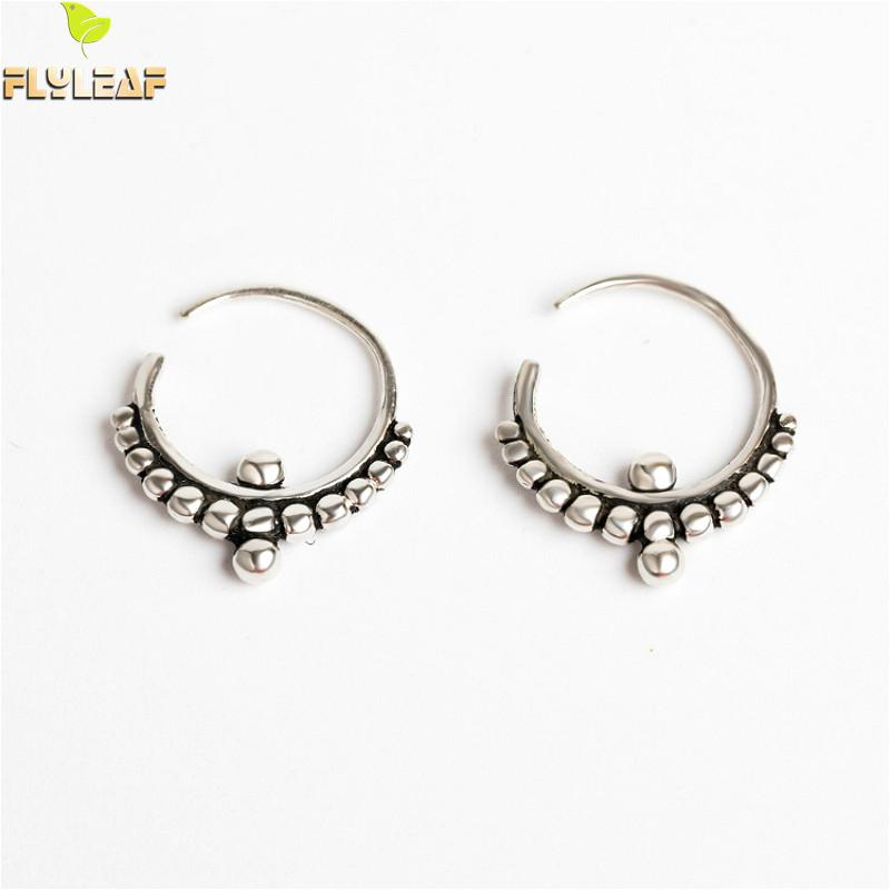 Flyleaf 925 Sterling Silver Circle Bead Hoop Earrings For Women Vintage Simple Earings Fashion Jewelry High Quality