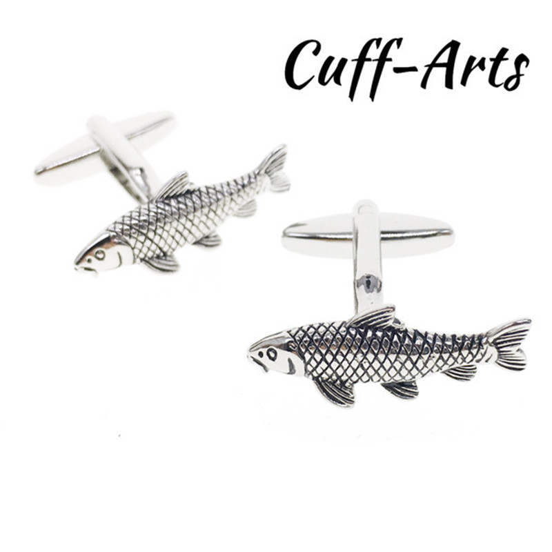 Cuffarts Cufflinks Gentleman Fish Shaped 2018 Men Cuff Links Jewelry Men Tie Clips Gifts Vintage Cufflinks For Men C10070