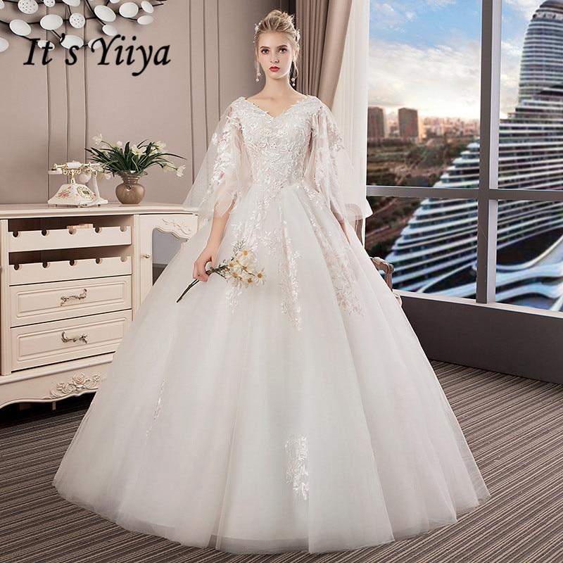 It's YiiYa New V Neck Floor Length Wedding Dresses Elegant