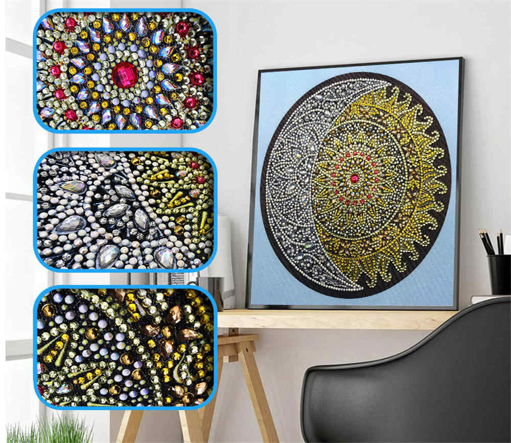 SaShiko DIY Special 5D Diamond Embroidery Mandala Sun Pattern Combination Modern Pattern DIY 5D Part Drill Art Home Decoration