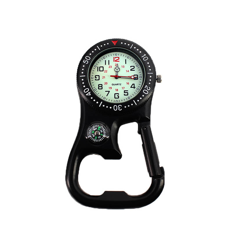 Hot 1 Pcs Clip-On Carabiner Pocket Watch Compass Bottle Opener For Doctors Chefs Luminous MSK66