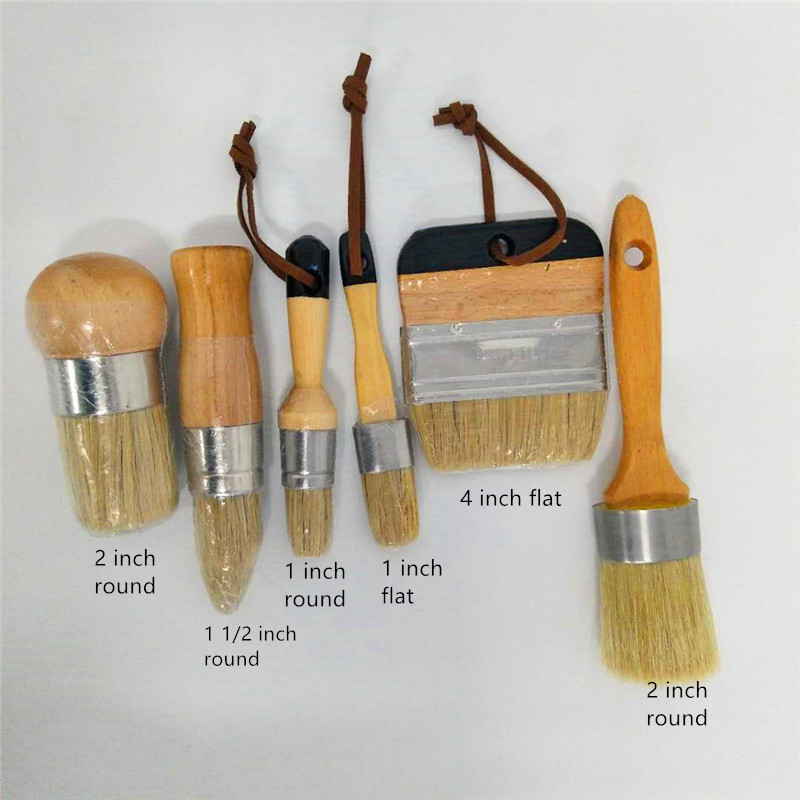 Exceart 5pcs Wooden Handle Painting Brushes Professional Paint Chip Brushes Natural Bristles for Wall Furniture Painting Barbecue