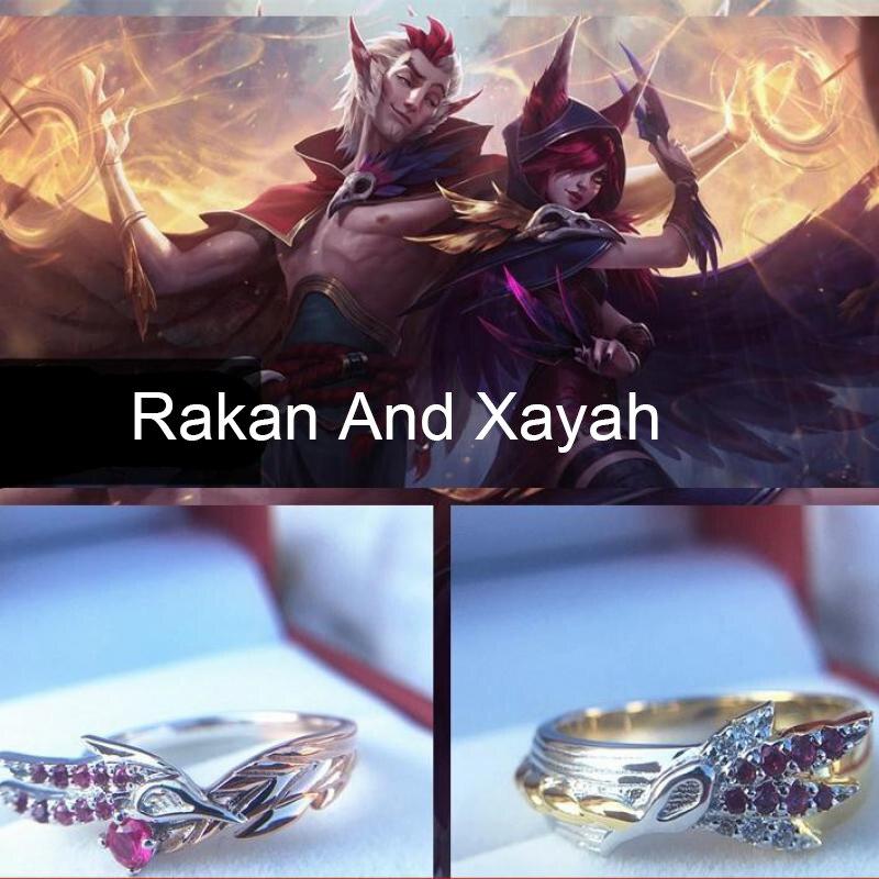 LoL Heroes Master Couples Lover's Rakan And Xayah 925 Sterling Silver Rings Mielaa Game Jewelry Girlfriend Boyfriend Gift