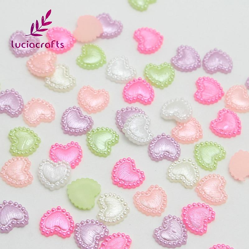 Lucia ремесла 10 мм 48 шт Многоцветные Имитация жемчуга в форме сердца одежды DIY скрапбукинга плоские бусины аксессуары F0313