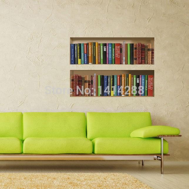 bookshelf study wall painting decoration dimensional 3d stickers three