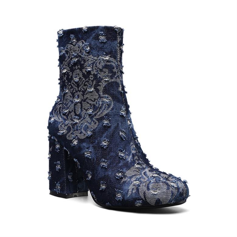 6fa42537446 Perixir Autumu/winter women ankle boots print Broken denim round toe high  heels fashion ladies martin boot shoes