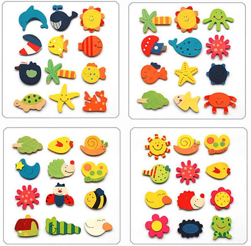 2018 أحدث حار 12 قطعة/المجموعة الطفل لطيف الثلاجة المغناطيس خشبية الكرتون الحيوان الطفل الألعاب التعليمية