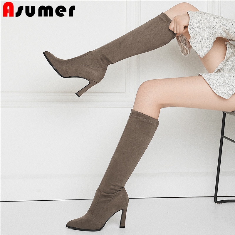 ASUMER 2020 Fashion Autumn Winter Boots Pointed Toe Thin High Heels Shoes Knee High Boots Flock Stretch Boots Large Size 34-43