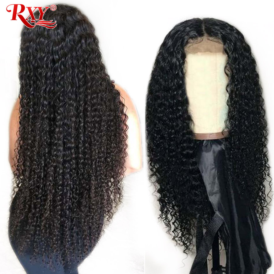 RXY Kinky Curly Wig Guleless Lace Front Human Hair Wigs For Black Women Malaysian Hair Pre Plucked With Baby Hair Remy Hair