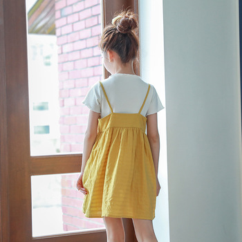 yellow sleeveless baby dress girl summer 2018 sundress kids tops clothes children casual beach infant dresses for kids clothing
