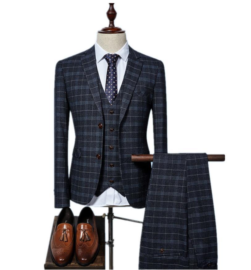 (Jacket+Vest+Pants) 2017 Grid Men Suits Fashion Wool Men's Slim Fit Business Wedding Suit Men Wedding Suit 3 Colors Suit Groom