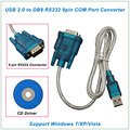 New Arrival USB 2.0 to RS 232 RS232 9 pin Converter Adapter cable DB9 with CD Driver For windows