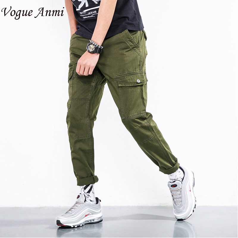 Vogue Anmi 2018 new summer lightweight mens Cargo casual Pants Combat Army Military work Cotton male Trousers mens