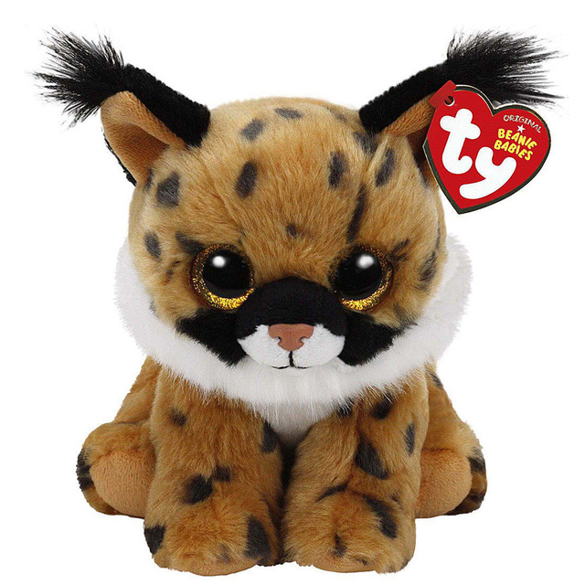 "Ty Beanie Babies 6"" 15cm Larry the Brown Lynx Plush Regular Soft Stuffed Animal Collectible Doll Toy"