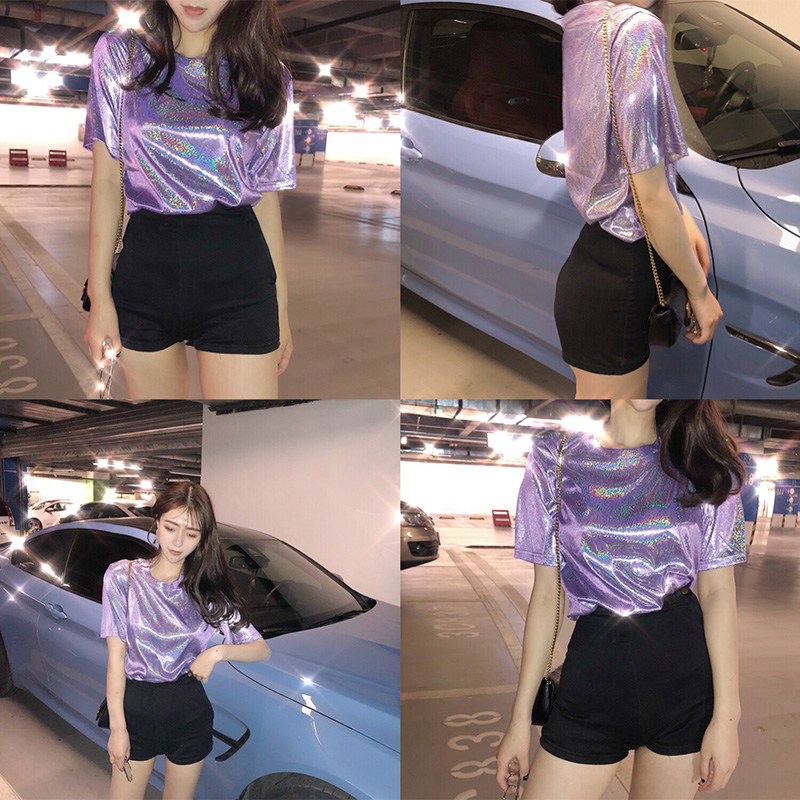 HTB1HicvV4naK1RjSZFtq6zC2VXa2 - New summer retro style stylish bright silk woman tops shiny loose short sleeve t-shirt sexy club aesthetic harajuku women tshirt