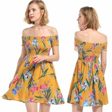New hot summer European fashion personality hollow card shoulder high waist loose print feminine dress