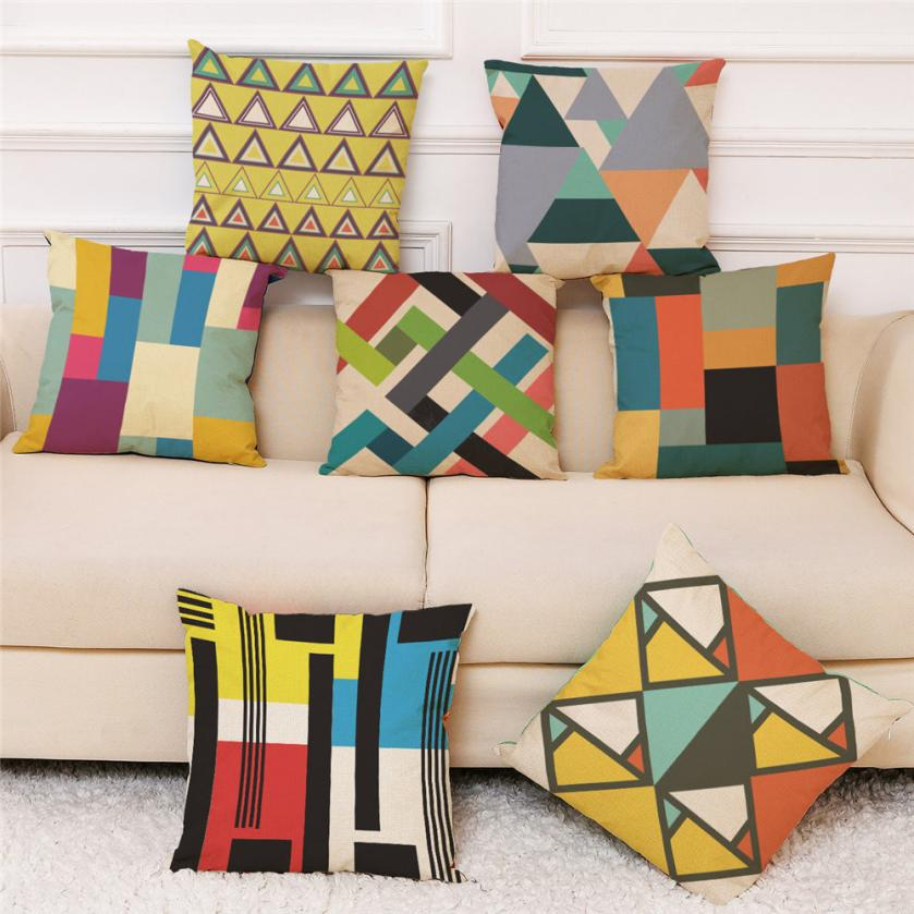 2018 Pillow Case 45*45 Home Decor Cushion Cover Colorful Geometry Throw Pillowcase Pillow Covers NEW Free Drop Shipping JA18