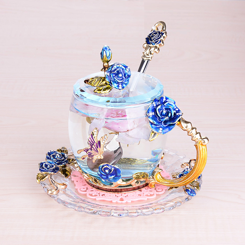 1 Set Rood blauw rose carving, emaille kleur, Luo poëzie thee cup, Bloem Thee Koffie Glas Cups, crystal hittebestendig creative geschenken - 2