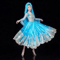 Синий Производительность Танцевальный костюм S для женщин Индии Принцесса Косплей принцессы Танцевальный костюм национальный Танцы плать
