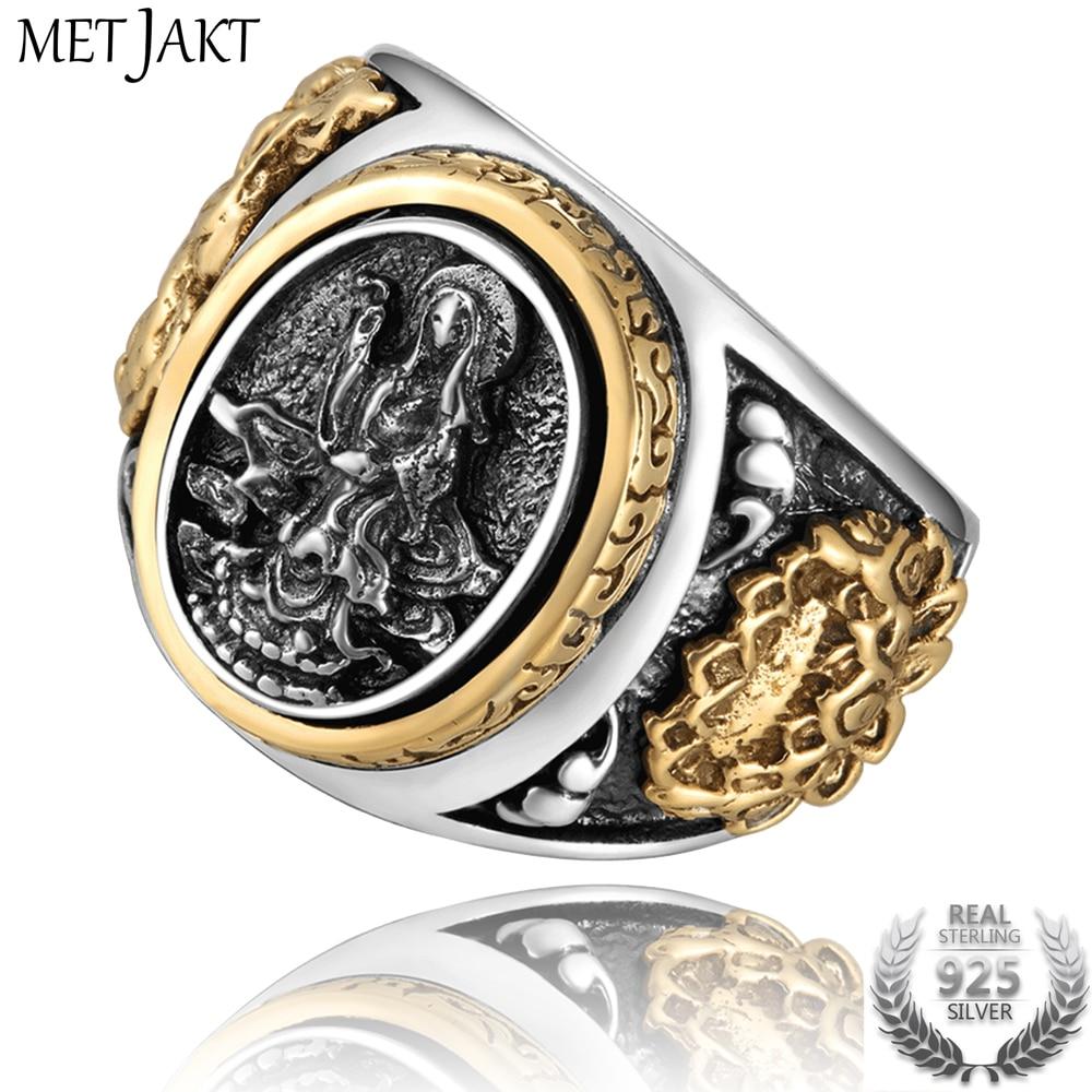 MetJakt Vintage 925 Sterling Silver Holy Buddhism Goddess Ring with Lotus Hand Carved Ring for Men Fine Jewelry недорго, оригинальная цена