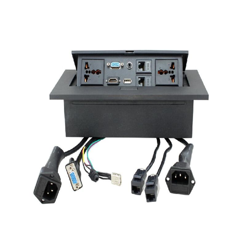 цена на Universal Power Tabletop Socket /Hidden/VGA,3.5MM Audio,HD HDMI, USB, Network,RJ45 Information Outlet Box /Desktop Socket