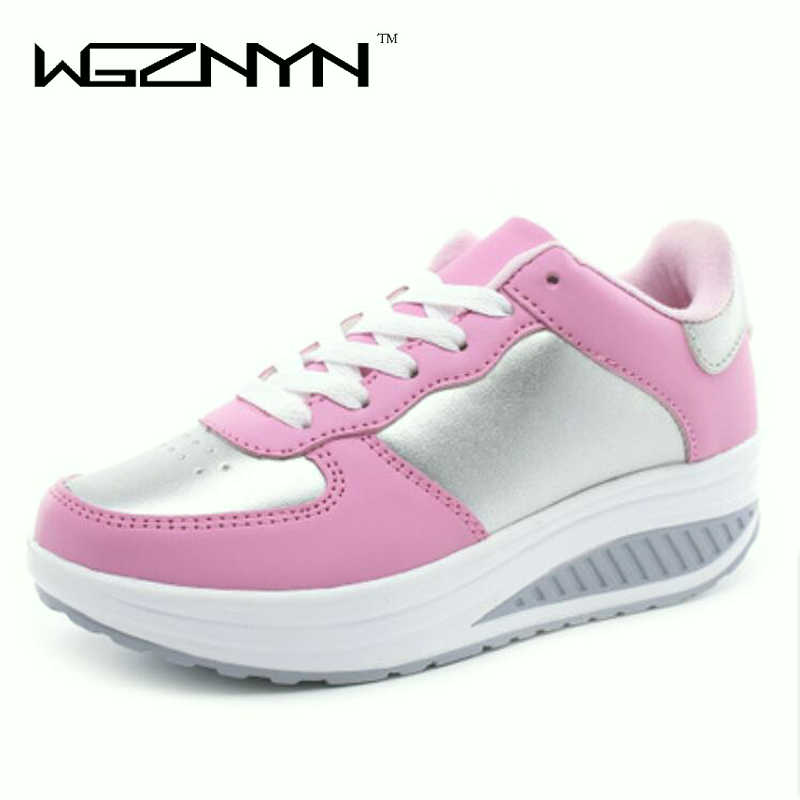 Fast delivery Women casual shoes 2018 New Arrival Walking creepers fashion waterproof wedges platform shoes woman sneakers W004 thumbnail