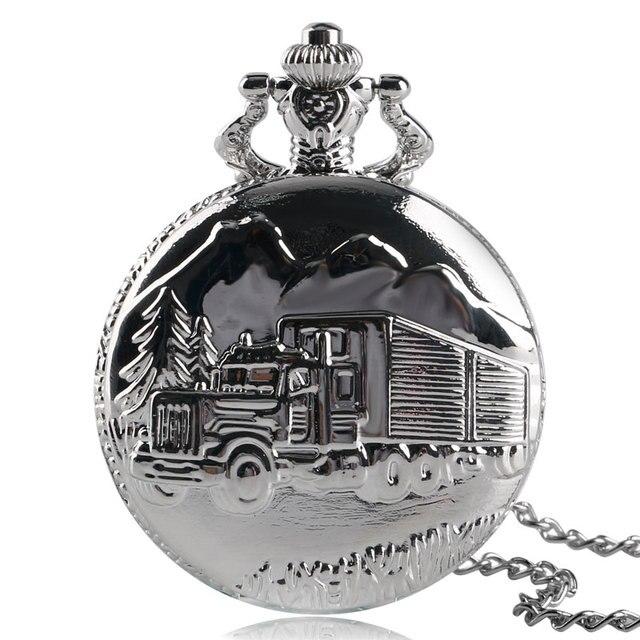 Antique Silver Cool Car Truck Design Fob Quartz Pocket Watch Necklace Chain Nume
