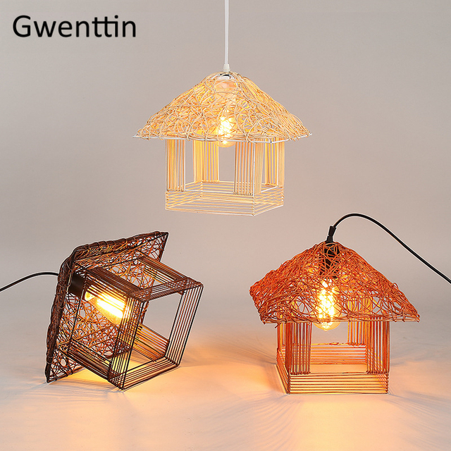 Rattan House Pendant Lights American Country Hand-made Hanging Lamp for Home Kitchen Hotel  LED Light Fixtures Decor Luminaire