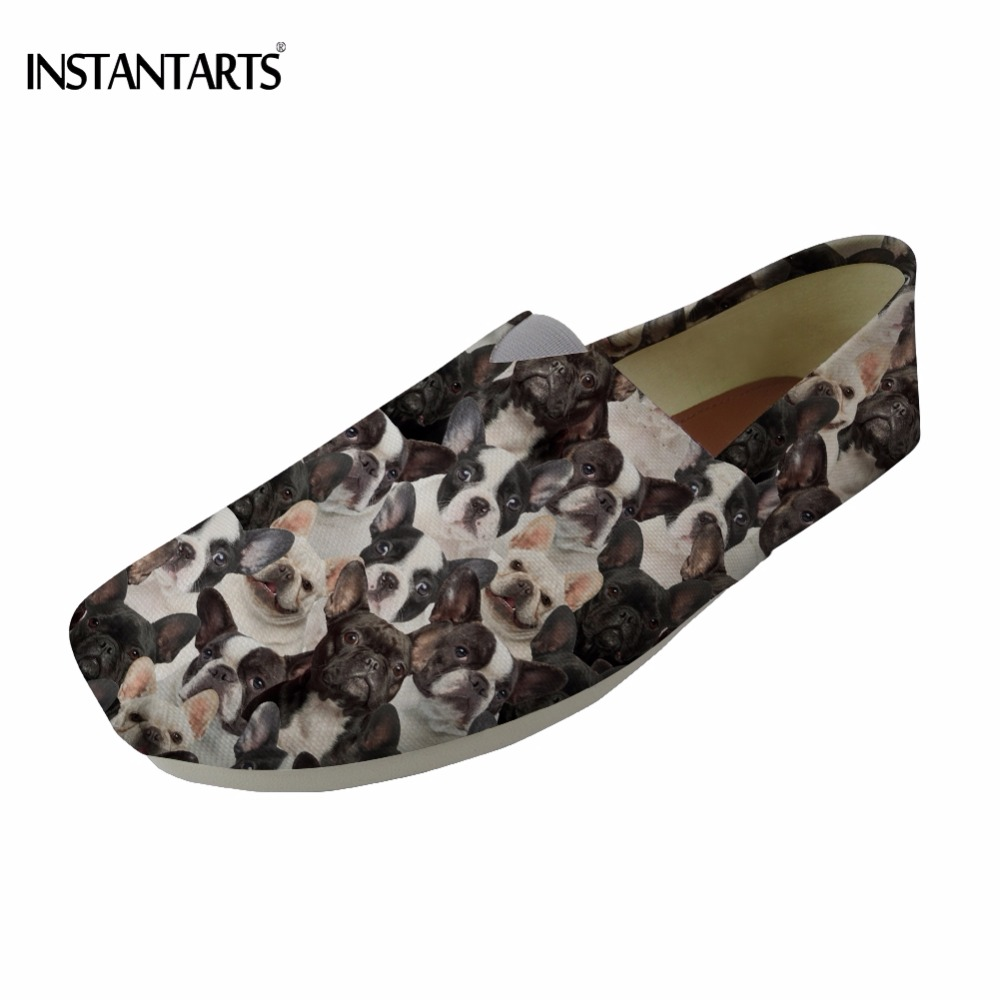 INSTANTARTS Cute 3D Puppy French Bulldog/Boston Terrier Printing Teenager Girls Summer Cloth Shoes Casual Breathable Flat Shoes