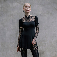 2017 new Steampunk Goth GOTHIC lace embroidery women slim skirt T-shirt with long sleeves