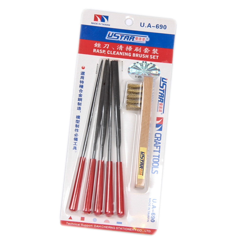 OHS Ustar 90690 Model File RASP Cleaning Brush Set (6Psc/Set) Finishing Tools Accessory