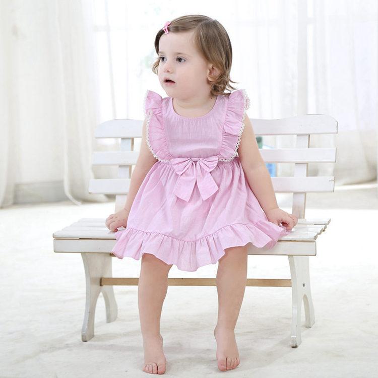 Fashion Mini Girls Dress 100% Cotton Pink Cute 6Month To 3T Little ... 05618e11bd49