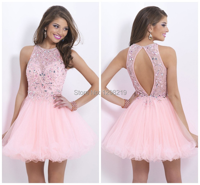 6961f2373 Fashion Rhinestone Pink Short Prom Dresses Junior Girl Dance Party Gowns  With Crew Neck A Line Mini Homecoming Graduation Dress