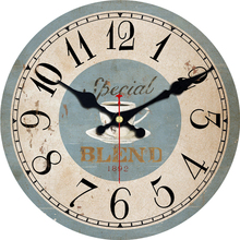 MEISTAR Vintage Round Clocks Silent Cafe Design Home Office Kitchen Decor Wall Watches Art Retro Clock 6 inch ( 15 cm )