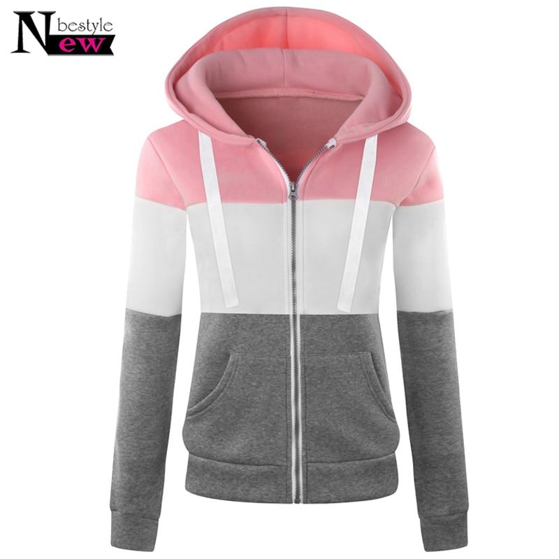 Woman Hoodies Sweatshirts Zipper Pocket Hoodies Women Long Sleeve Hoodie Sweatshirt Women Baseball Jacket Contrast Color Outwear