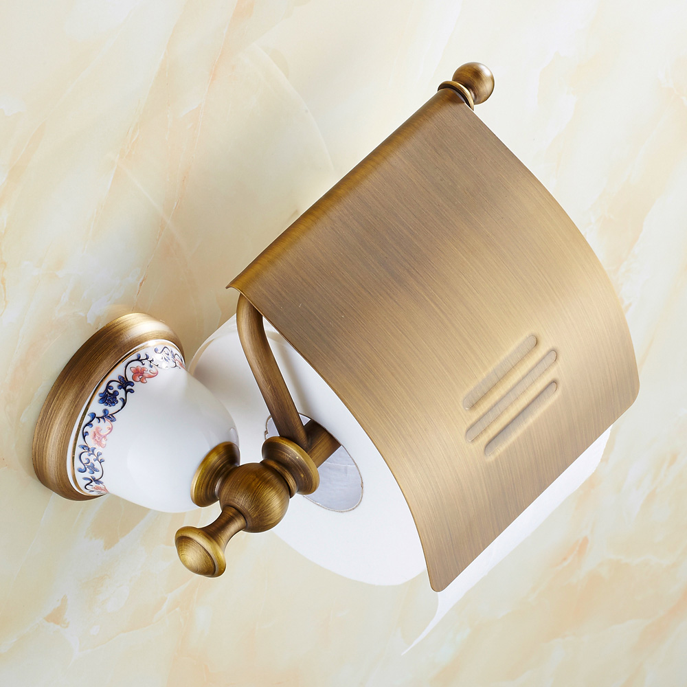 купить  Antique Bronze Copper Toilet Paper Holder Luxury Brushed Ceramic Roll Holder Tissue Box Wall Mounted Bathroom Accessories df52  недорого
