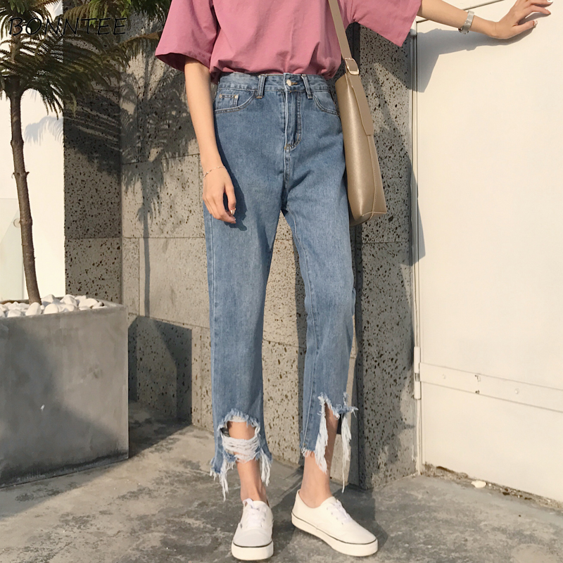 Jeans Women RetroTrendy Elegant All-match High-quality Leisure Daily Womens Female Lovely Simple 2019 Korean Style Loose