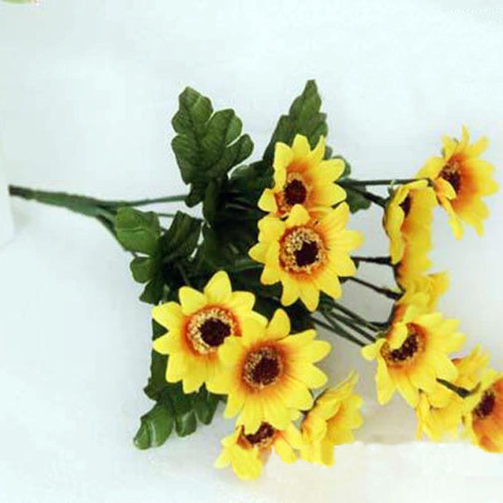 14 Cabeza Falsa Simulación de Girasol Flor de Seda Artificial Ramo Floral De La