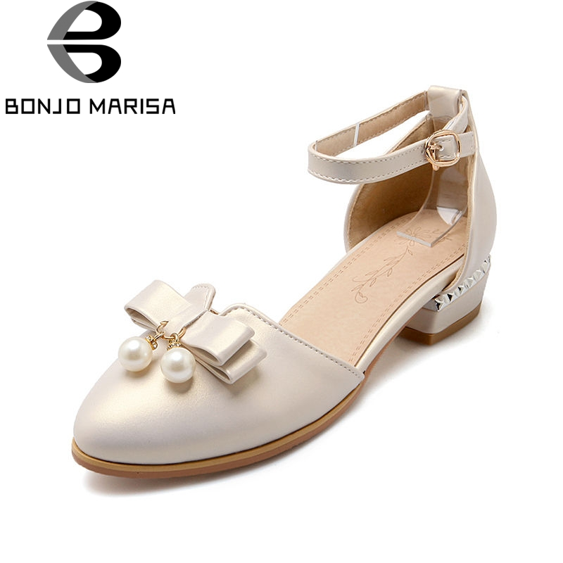 BONJOMARISA 2018 Summer Sweet Concise Women Sandals Big Size 33-43 Fashion Beading Bow S ...