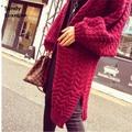 2016 длинные осенние кардиган женские свитера свободные перемычка женщины кардиган основные пальто свитер негабаритных свитера вязаный кардиган 025