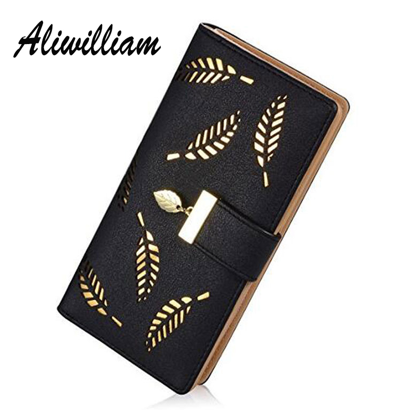 Aliwilliam Brand Leaves Hollow Women Wallet Soft PU Leather s
