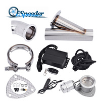 ESPEEDER 2.5'' Exhaust Cutout Stainless Steel Header Y Pipe Catback Vacuum Valve Remote Electric Cut Out Exhaust Tip Muffler Kit